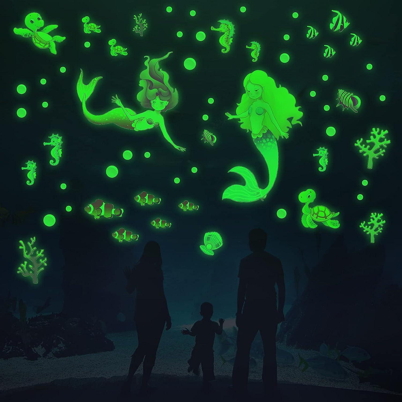 VIMOO Glow in The Dark Mermaid Wall Stickers for Girls Room Ocean World Luminous Decals Nursery Ceiling Decor Mermaid