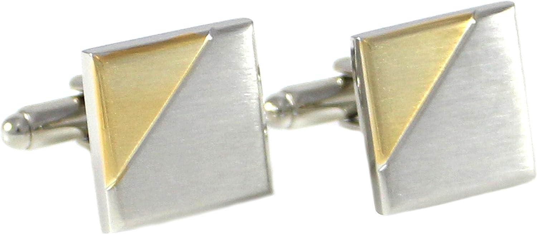 M MENDEPOT Classic Bi-Tone Plated Brushed Finish Square Geometric Pattern Cuff Links in Box (Gold)
