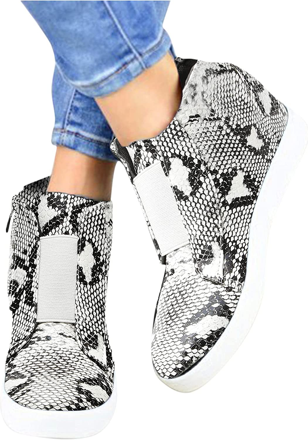 Niceast Sneakers for Women Running Shoes,Womens Fashion Retro Slip On Casual Wedges Sneaker Shoes