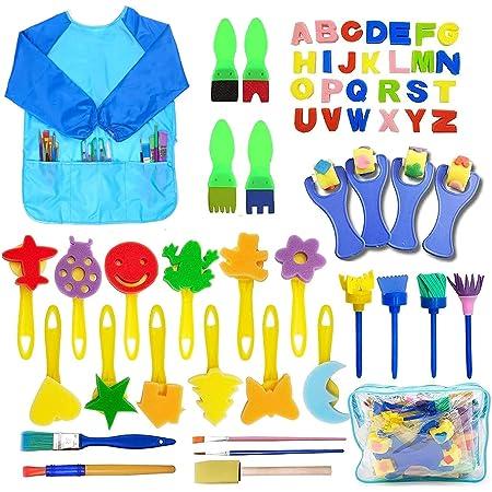 SPECOOL 56 Pezzi Pennelli Spugna per Pittura Set per Bambini, Pennello da Disegno per Bambini, Paint Spugne per Bambini Lavabile Set, la Pittura di DIY Arte e Mestieri, Grembiule