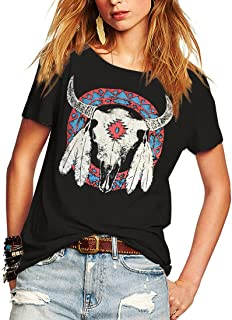 Women's Street Style Printed T-Shirts Short Sleeve Loose Tops Tee Shirt