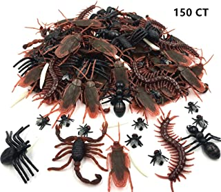 150pcs Realistic Bugs Plastic Artificial Cockroaches Spiders Centipedes Scorpions for Halloween Decorations and Party Favors