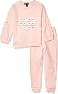 Girls' Ruffle Sleeve Pullover Sweatshirt and Jogger Set