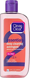 Clean & Clear Essentials Oil-Free Deep Cleaning Facial Astringent with Salicylic Acid Acne Medication for All Skin Types, ...