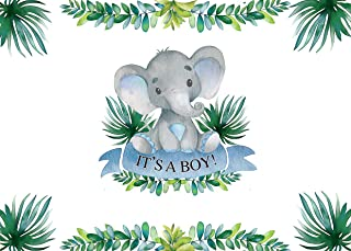 AIIKES 7x5FT Little Elephant Baby Shower Photo Backdrop It's A Boy Elephant Baby Shower Leaves Vinyl Photography Background 1st Baby Birthday Party Banner Decoration Photoshoot Props 11-534