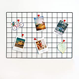 House of Quirk DIY Grid Photo Wall,Multifunction Wall Mounted Ins Mesh Display Panel with Freebies,Wall Art Display Organizer,Memo Board with Led Bulbs, Clips and Many More Freebies(45 x 65cm,Black)
