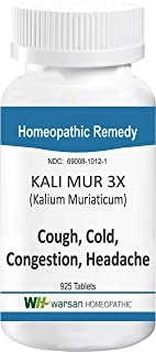 Kali MUR 3X (Kalium Muriaticum). Homeopathic Tissue Salts. 925 Tablets