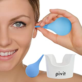Pivit Ear Wax Removal Tool Kit | Small Wash Basin with 2 Oz Earwax Syringe | Durable Hospital Grade Rubber Bulb Vacuum for Cleaning Flushing & Irrigation | Easy to Use, Safe, Gentle, Non-Irritating