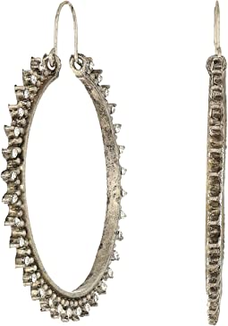 Antiqued Detailed Large Hoop Earrings