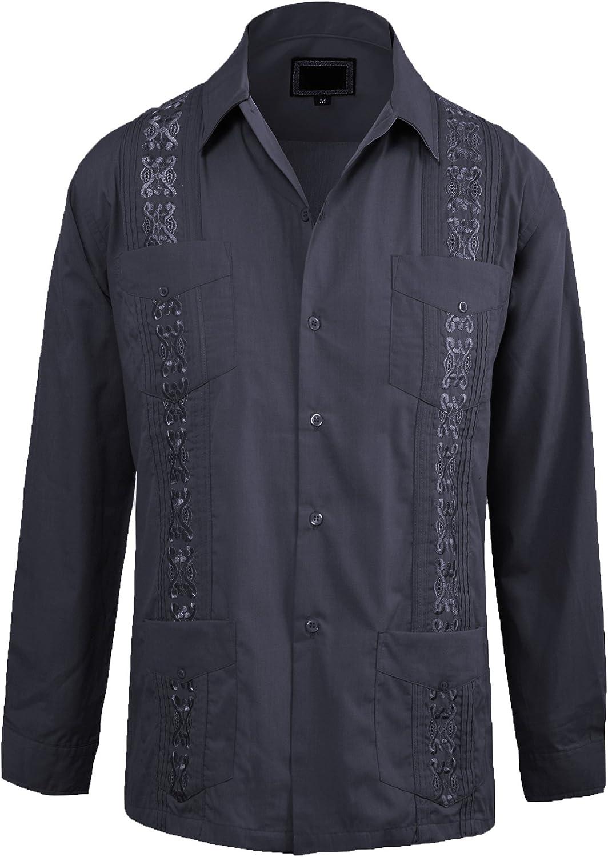 Guytalk Men's Cuban Guayabera Button-Down Long Sleeve Shirt
