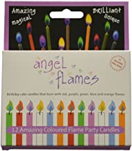 Grillkid Angel Flames Birthday Cake Candles with Colored Flames (12pcs per Box, Holders Included) (12, Medium)