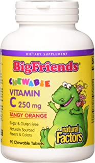 BigFriends by Natural Factors, Chewable Vitamin C 250 mg, Support for Healthy Bones, Teeth and Cartilage, Tangy Orange, 90...