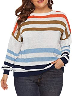 Macondoo Womens Long Sleeve Casual Jumper Knitted Colorblock Sweater