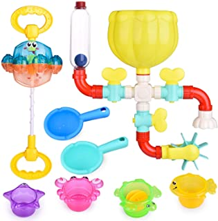 FUN LITTLE TOYS 22 PCs Bath Toys for Toddler, Flower Water Station, Bath Squirters, Stacking Cups, Rotating Spray Water To...