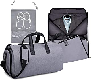 Garment Bags for Travel, Carry On Suit Bags with Shoulder Strap, Convertible Travel Roll Up Garment Duffel Bag for Men and Woman, 2 in 1 Hanging Suitcase Suit Travel Bags (Grey, 45L)