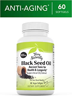 Terry Naturally Black Seed Oil - 60 Vegan Softgels - Healthy Joint Support Supplement, Promotes Concentration, Focus & Healthy Blood Pressure - Non-GMO, Gluten-Free - 60 Servings