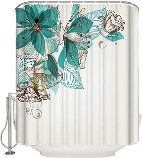 Vandarllin Teal Flowers Fabric Shower Curtain Bathroom Decor Sets with Hooks, Extra Long 72 X 84 Inch
