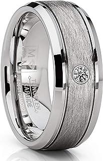 خاتم خطوبة من معدن التنجستين للرجال من الجنسين من شركة ميتال ماسترز كومبني، 0.05 قيراط ألماس 8 مم