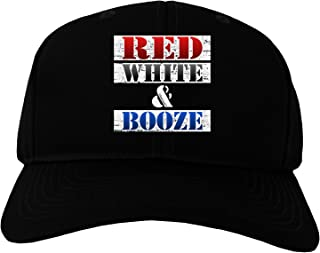TooLoud Red White & Booze Adult Dark Baseball Cap Hat