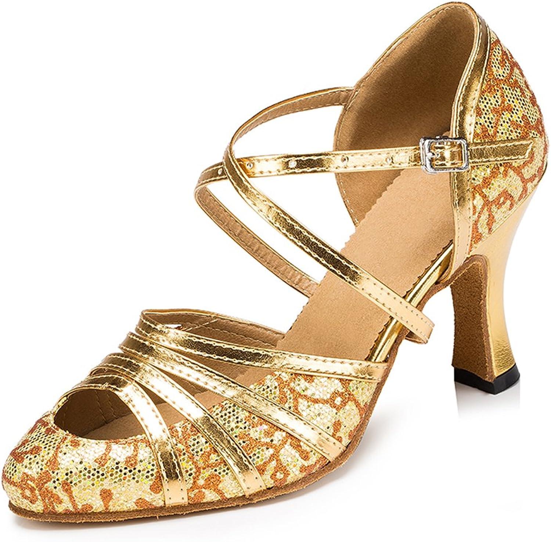 Misu Women's Suede Sole Ballroom Dance shoes with 3.1  Heel,gold Glitter and PU,9.5 B(M) US