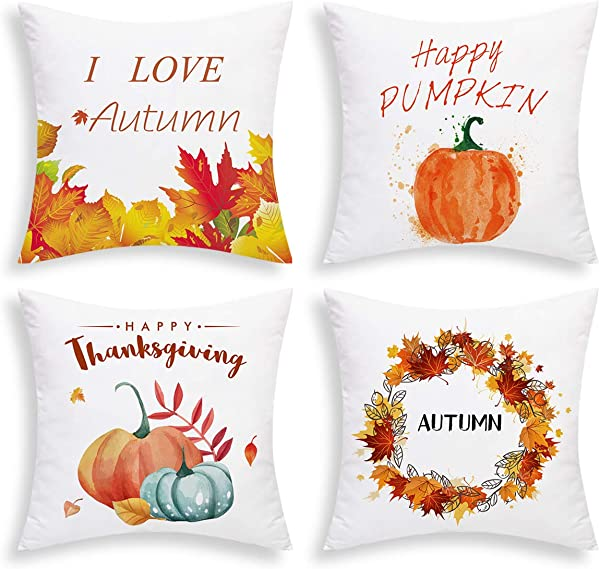 BLEUM CADE Set Of 4 Autumn Pillow Covers Thanksgiving Day Throw Pillow Case Pumpkin And Maple Leavs Cushion Case For Bed Sofa Office Car Chair Orange Red 18 X 18 Inch