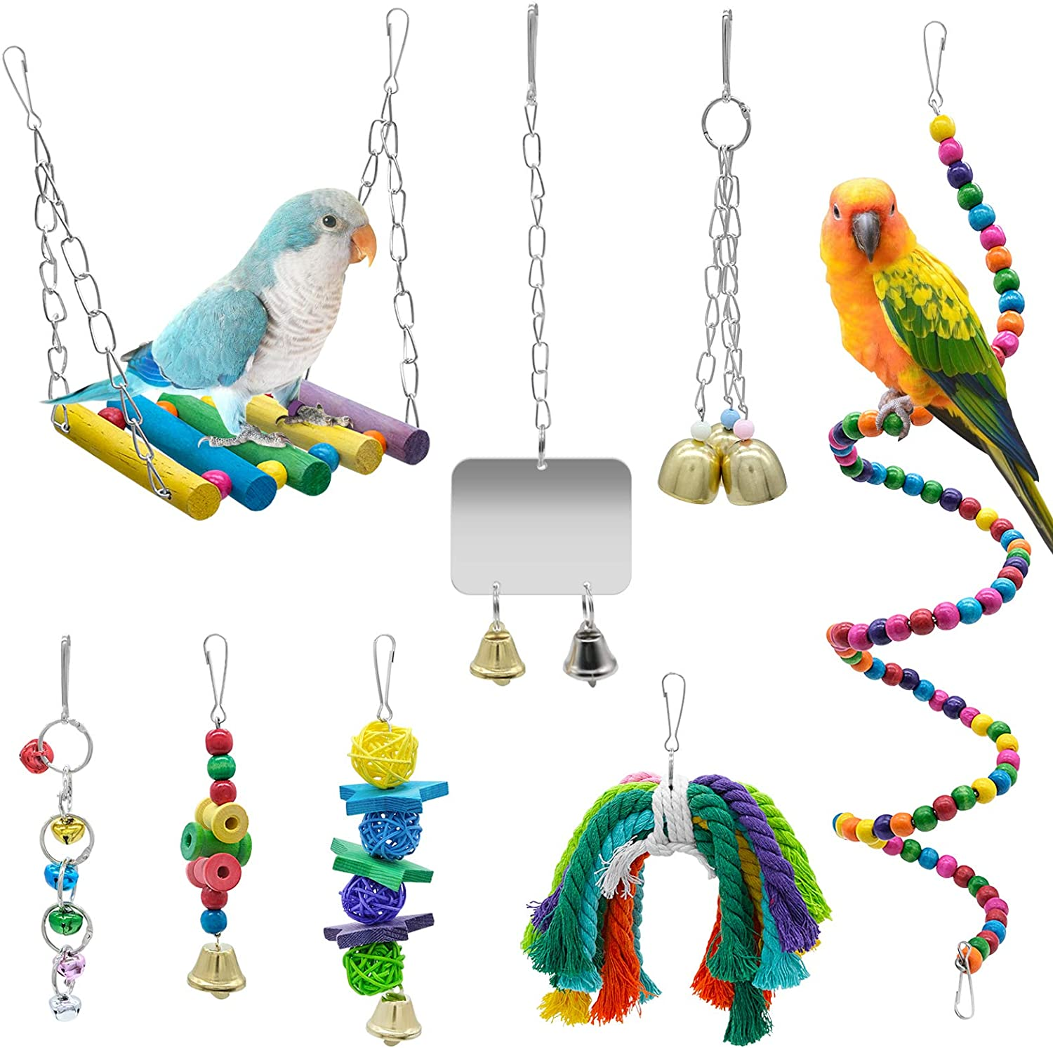 WBYJ 8 Pack Birds Parrot Toys Parrots Swing Hanging specialty shop Chewing Some reservation wit