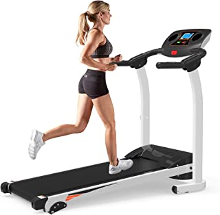 Julyfox Home Folding Treadmill with Incline, 270lb Heavy Duty Motorized Electric Treadmill Running Walking Jogging Machine W/Hand Pulse Sensor Cup Holder Safety Key Quiet Home Exercise Machine
