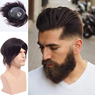 Lishy Thin Skin Toupee for Men Real Human Hairpiece 100% European Virgin Human Hair Replacement Wigs Slight Wave Free Style 1B Black Color