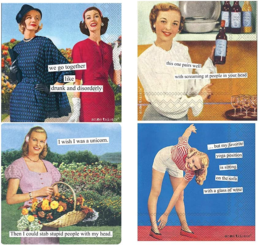 Women Cocktail Napkins Funny Anne Taintor Variety Pack 80 Total Napkins Snarky Set 2