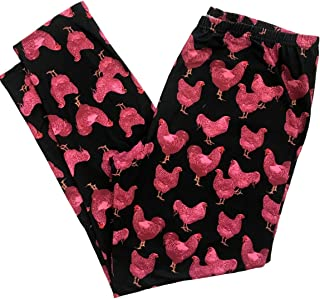 Pink and Black Chicken Leggings, Chicken Lady, Gifts for Chicken Lover, Chicken Fabric Chicken Print Leggings