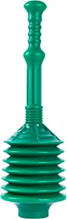 VETTA Professional Bellows Accordion Toilet Plunger, High Pressure Thrust Plunge Removes Heavy Duty Clogs from Clogged Bathroom Toilets, All Purpose Commercial Power Plungers for Any Bathrooms, Green