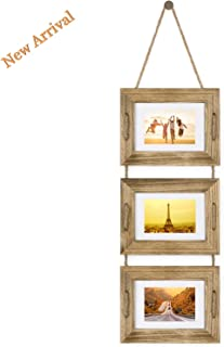 DLQuarts Collage Picture Photo Frame,3-Frame Set On Hanging Rope, Rustic Solid Wood Photo Frame 5 x 7 Carbonized Black