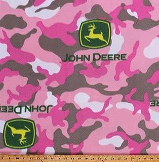 Fleece John Deere Logos on Pink Camouflage Camo Girls Fleece Fabric Print by The Yard (A347.12)
