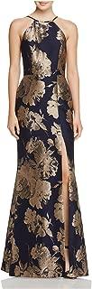 AVERY G Womens Navy Slitted Floral Halter Full Length Empire Waist Prom Dress US Size: 0