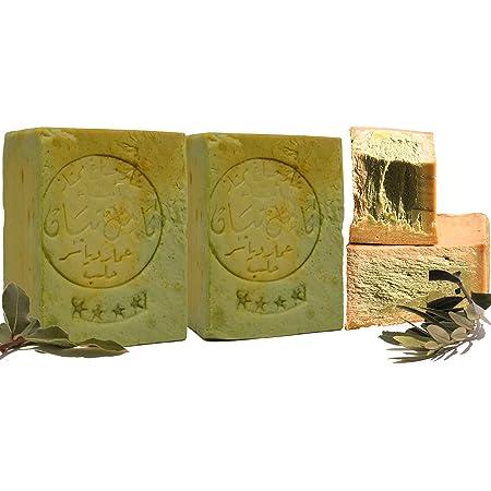 Jabón Aleppo, 2 x 190g, 80% aceite de oliva, 20% aceite de laurel, valor de PH 8, jabón para el cabello, jabón de ducha, propiedades detox, vegano, ...