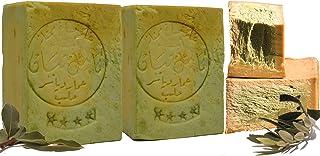 Jabón Aleppo, 2 x 190g, 80% aceite de oliva, 20% aceite de laurel, valor de PH 8, jabón para el cabello, jabón de ducha, propiedades detox, vegano, hecho a mano
