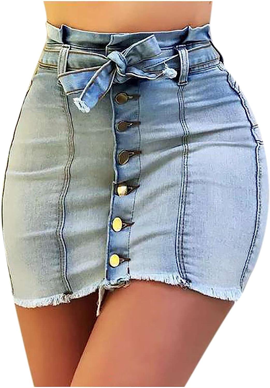 EZ Tuxedo Women's Blue Button Down Front Denim Short Skirt with Belt