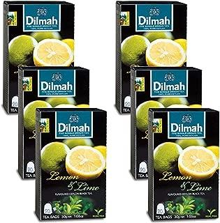 Dilmah Lemon and Lime Flavored Ceylon Black Tea - 20 Tea Bags X 6 Pack - Sri Lanka Ceylon Dilmah Lemon Lime Tea Real Tea