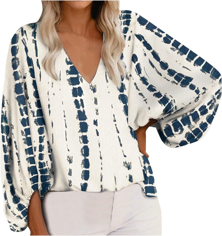 Womens V Neck Chiffon Blouses Tops Oversized Long Lantern Sleeve Print Pullover Shirts