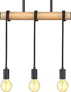 B.K.Licht I Lámpara colgante de 3 llamas I metal y madera I E27 I negro mate I lámpara colgante de época I lámpara colgant...