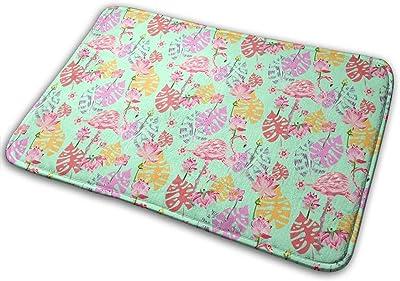 Beautiful Flamingos and Flowers Carpet Non-Slip Welcome Front Doormat Entryway Carpet Washable Outdoor Indoor Mat Room Rug 15.7 X 23.6 inch