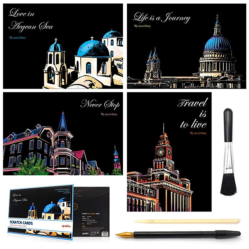 Scratch&Sketch Art Paper(A4) for Kids&Adults, Rainbow Painting Night View Scratchboard, Art&Craft, Engraving Art Set: 4 Scratch Cards & Scratch Drawing Pen, Clean Brush (Travel Around The World)