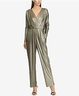 RALPH LAUREN Womens Gold Metallic Crossover Long Sleeve V Neck Straight leg Evening Jumpsuit US Size: 6