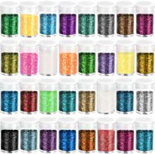 Fine Slime Glitter, Set of 32 Colors, LEOBRO Multi Purpose Glitter Powder for Arts, Crafts, Epoxy Tumblers, Decoration Weddings Cards Flowers, Scrapbooking, Body, Face, Nail, Glitter Slime Making