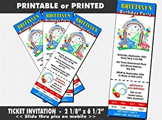 Amusement Park Birthday Party Ticket Invitation, Printable or Printed Option