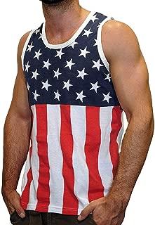 Licensed Mart Men's American Flag Stripes and Stars Tank Top Shirt