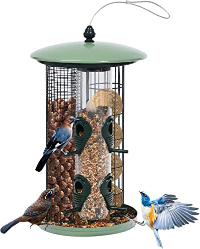 popular Giantex 3-in-1 Wild Bird Feeder, Outdoor Hanging Metal Wild Bird Feeder with 4 Feeding lowest Ports, Detachable Tubes, Steel Wire, 2 ABS Perches, Bird Feeder outlet online sale Kit for Seed, Nut and Fat Ball outlet online sale