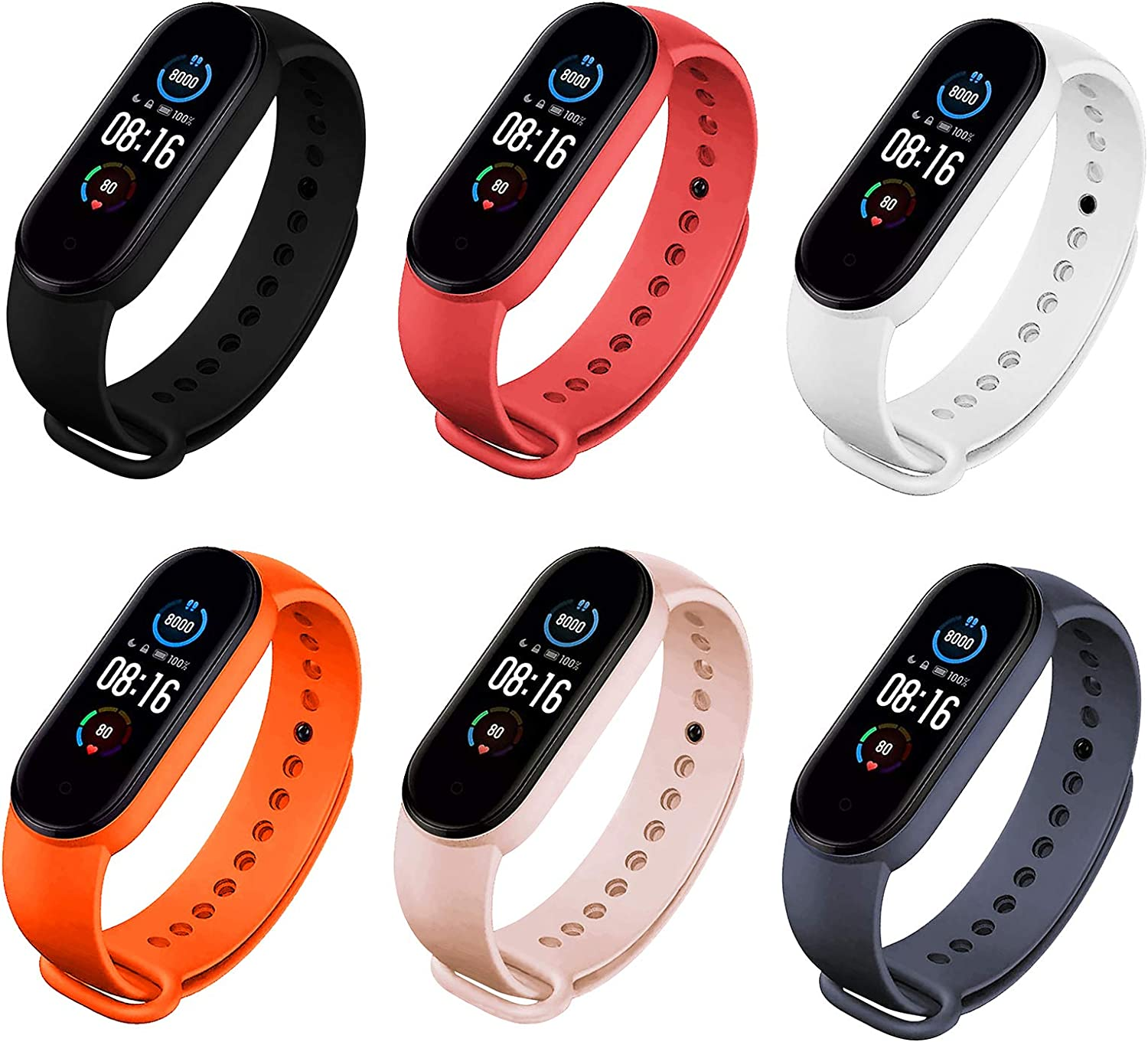 COLAPOO 6PCS Bands Compatible with Xiaomi Mi Band 5,Silicone Waterproof Strap for Mi 5 Smart Bracelet for Men Women (Black/Red/White/Orange/Pink/Midnight Blue)
