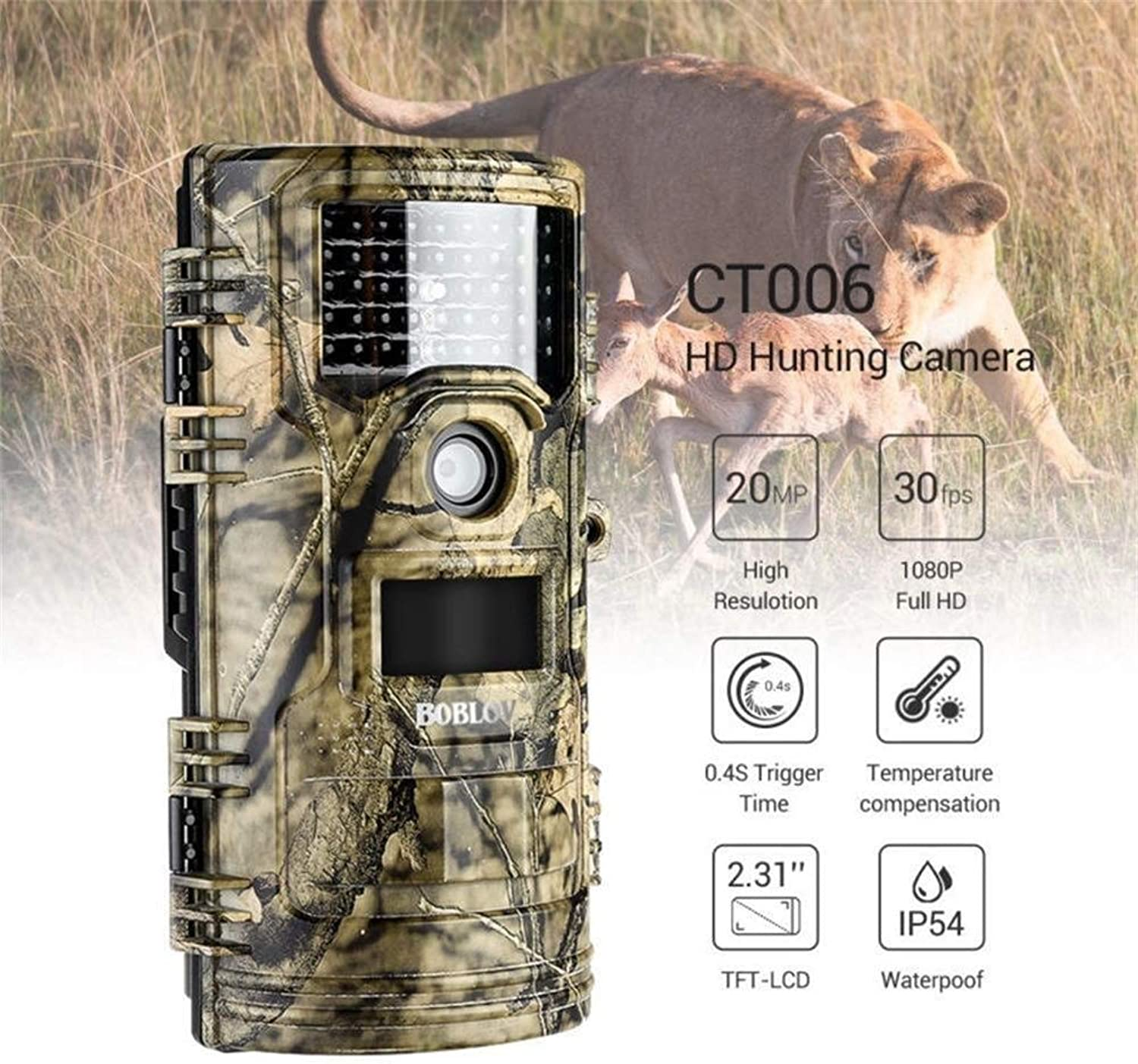 GLJJQMY Game Camera, CT006 0.4 Second Forest Orchard Waterproof Infrared HD Reconnaissance Camera 2.3 Inch Wildlife Reconnaissance Camera