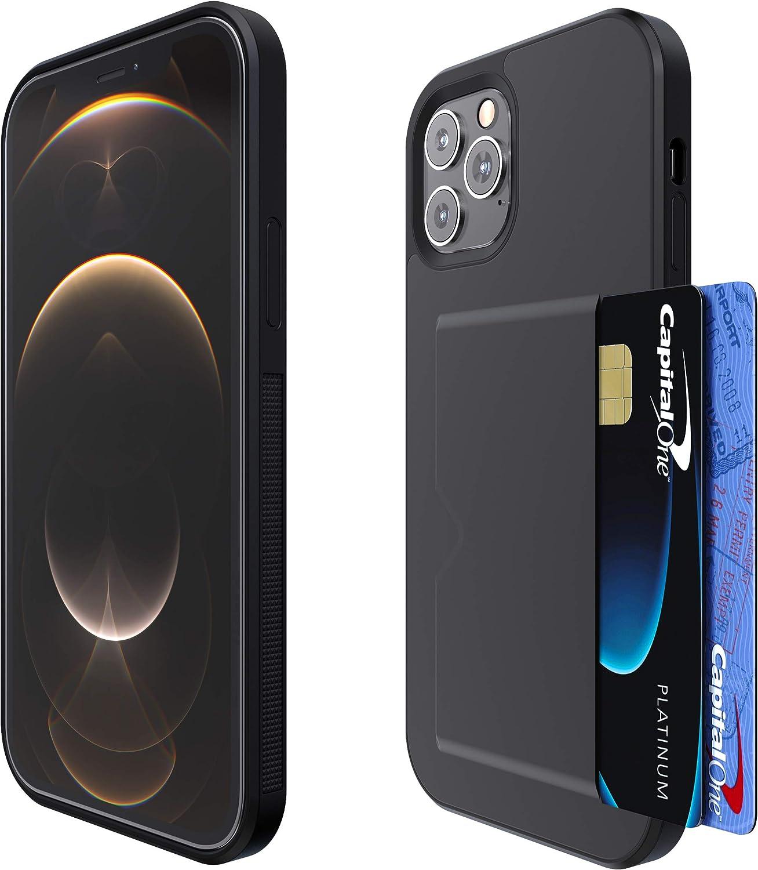 Verna iPhone 12 Case | iPhone 12 Pro Case | Slim PU Leather Case | Card Holder Slot | Wireless Charging | Compatible with Apple iPhone 12 Case/iPhone 12 Pro Case - Black